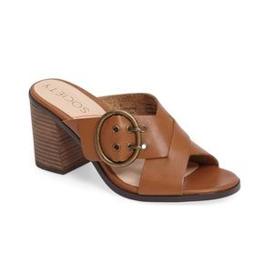 Sole Society Corrine Leather Buckle Mules Heels 11